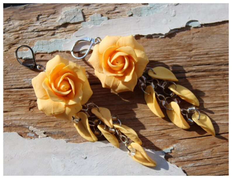 Polymer Clay Jewelry Flower Jewelry Gift For Her Roses Earrings Bridesmaid Earrings Roses Earrings Wedding Gift Jewelry