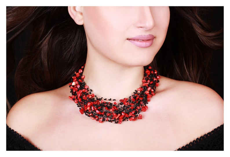 Statement Necklace Handmade Necklace Black and Red Beaded Necklace Art Nouveau Jewelry Beaded Jewelry Gift For Her