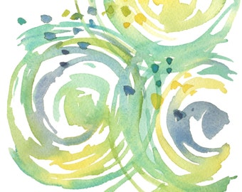 Abstract Circles - Yellow and Turquoise