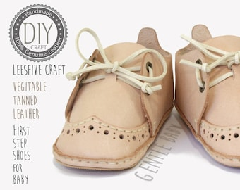 DIY Baby Shoes Kit - Craft yourself -Veg Tan Leather baby Shoe-Just Sewing for Beginner - Everything Included to make shoes-Gentle Baby
