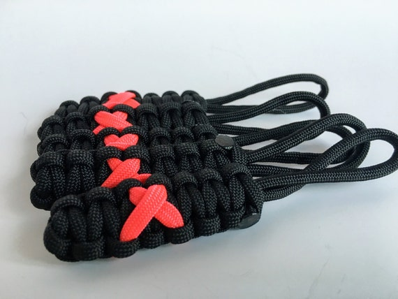 Paracord Breast Cancer Ribbon Zipper Pulls, set of 5