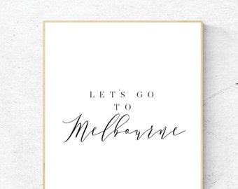 Melbourne, Digital Print, Let's Go to Melbourne Art, Melbourne Art, Digital Download, Melbourne Wall Art, Wall Prints, Printable Art