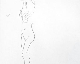 Original Figure Study Graphite On Paper By Alina Liu 12 X Etsy