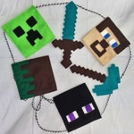 Mine craft gamer themed, felt, party, home and garden, bunting decoration.