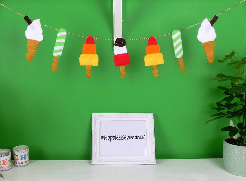 Ice lolly summer felt bunting banner garland. image 0