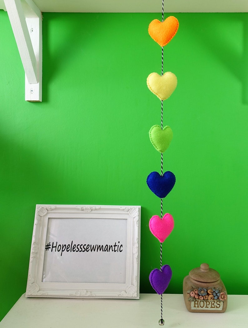 Rainbow hearts love wall hanging  felt home decor. image 0