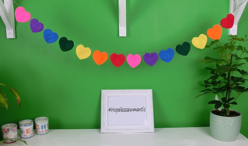 Rainbow heart felt party bunting banner garland. image 0