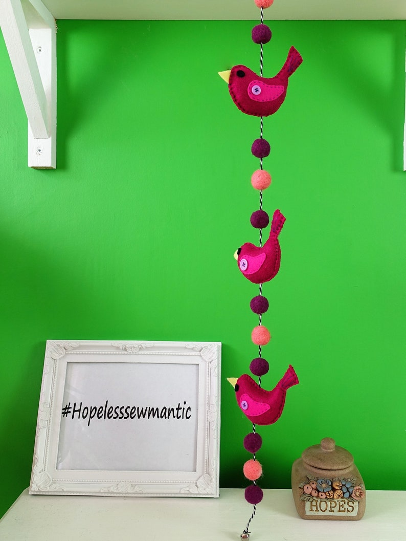 Bird wall hanging pom pom wall art. image 0