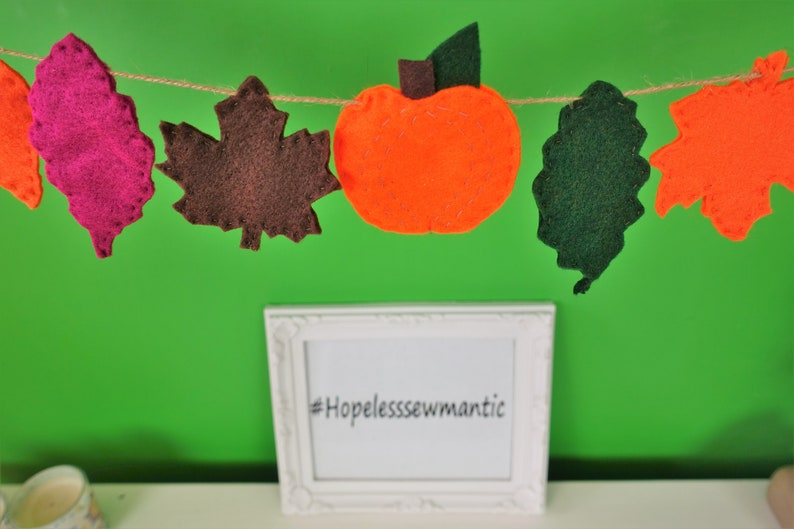 Autumn leaves and pumpkin felt bunting banner garland. image 0