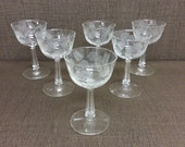 6 Sherry Glasses, Crystal Garland by Libbey, Clear Etched Blown Glass Stemware 3002 Cordial Aperitif Liqueur