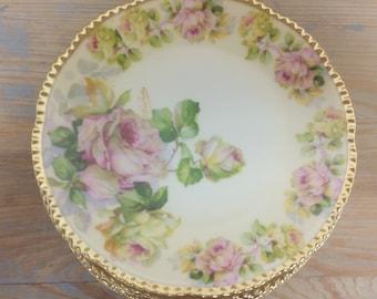 Beyer & Bock Cabinet/Side/Dessert Plates ~ Pink Roses Gold Rim ~ Prussia Royal Rudolstadt German Porcelain