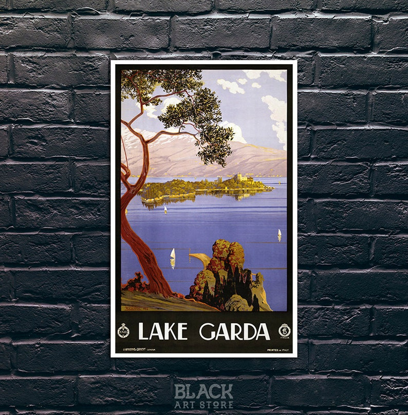 VINTAGE LAKE GARDA ITALY TRAVEL A3 POSTER PRINT