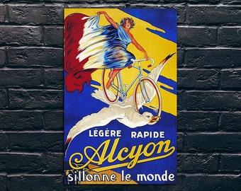 Vintage Bicycle Poster, Alcyon Vintage Poster Print