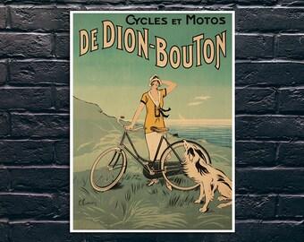 Vintage Bicycle Poster, De Dion Bouton Vintage Cycles Poster Print