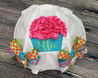 Personalize Cupcake Diaper Cover, Monogram Birthday Bloomers, Custom Cake Smash Outfit, Toddler Bloomers, Girls First Birthday Diaper Cover