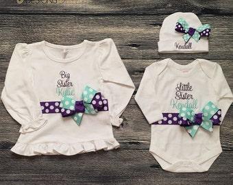 Personalize Big Sister Little Sister Matching Outfit, Monogram Sibling, Big Sister Shirt, Little Sister Layette, Purple Aqua, Hospital Set