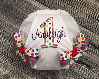 Rainbow Birthday Diaper Cover, Personalize Rainbow Bloomer, Girls First Birthday, Diaper Cover with Bows, Primary Colors, Cake Smash Outfit
