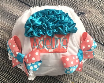 Birthday Cupcake Diaper Cover, Personalize Birthday Bloomer, First Birthday Cake Smash, Baby Girl 1st Birthday Bloomer, Coral Turquoise