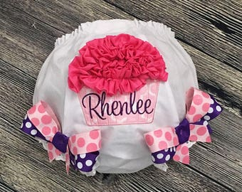 Cupcake Diaper Cover, Personalize Birthday Bloomer, First Birthday Cake Smash, Baby Girl 1st Birthday, Pink Purple, 1st Birthday Girl Outfit
