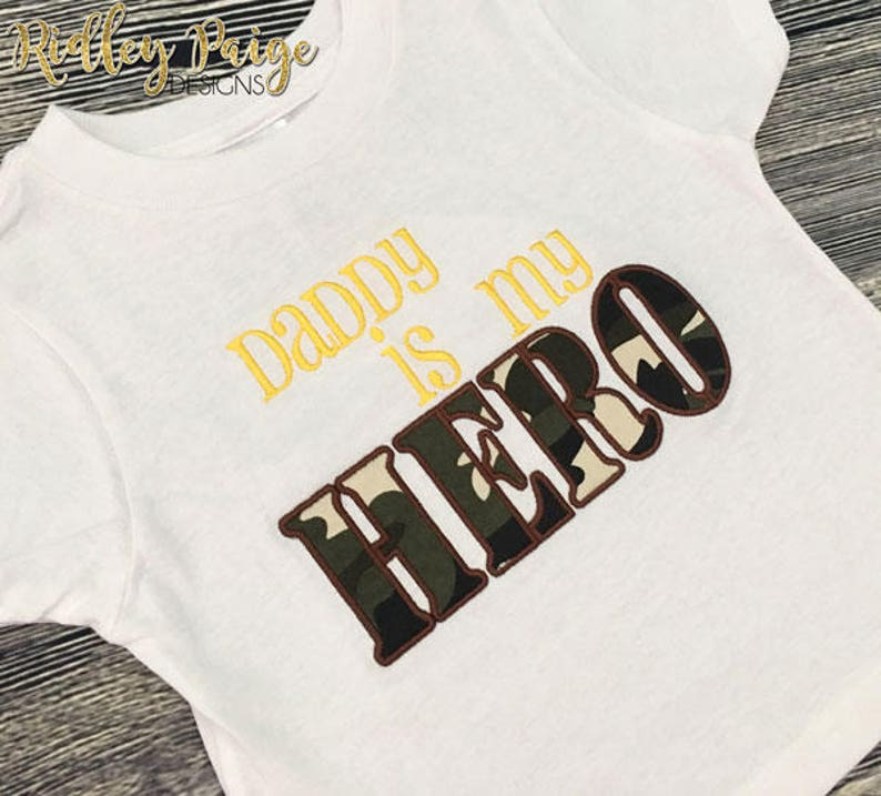Baby Boy Army Daddy Hero Boot Camp Camo TShirt Ready to Ship BMT Graduation Daddy is my HERO Shirt Premade 2T Military Toddler Shirt