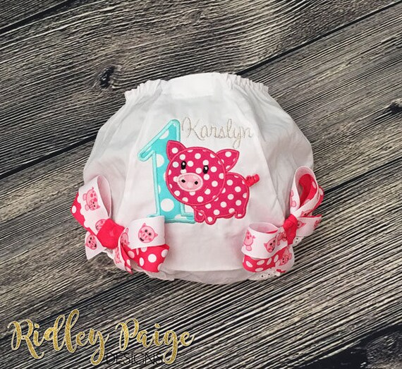 Personalize Birthday Baby Girl Diaper Cover Custom Birthday Girl Bloomer Aqua Fuchsia First Birthday Girl Monogram Cake Smash Bloomer
