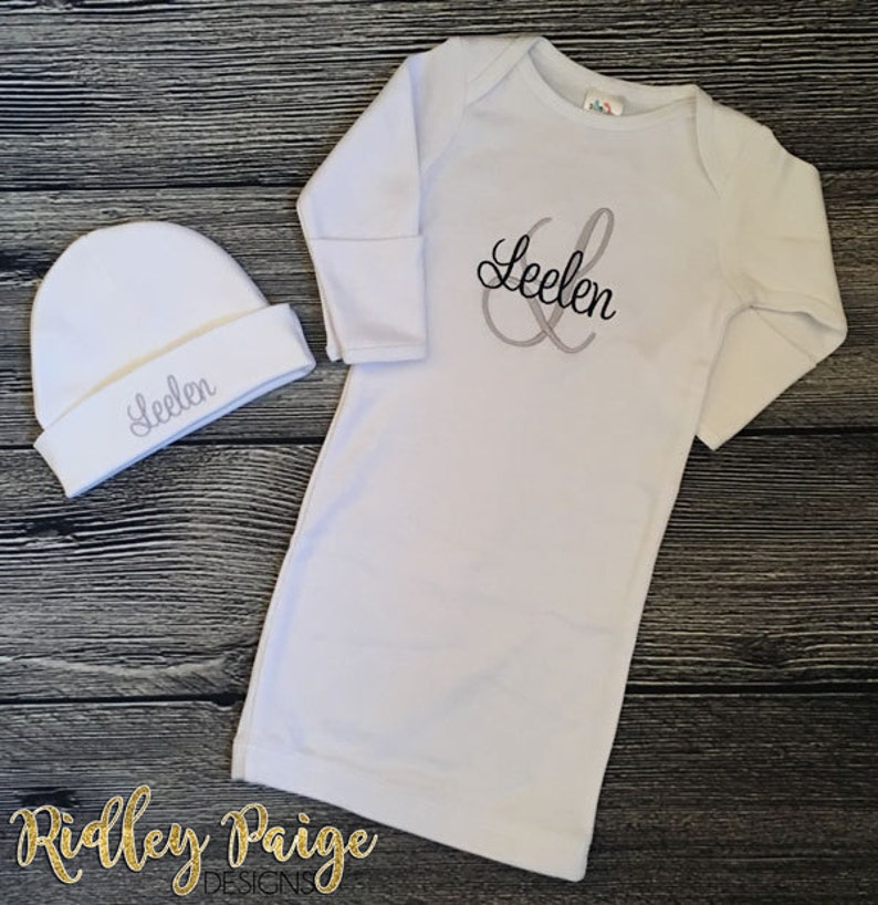 Infant Boy Beanie Hat Coming Home Outfit Personalize Newborn Boy Baby Boy Gift Baby Boy Hospital Gown Monogram Boys Layette Take Home