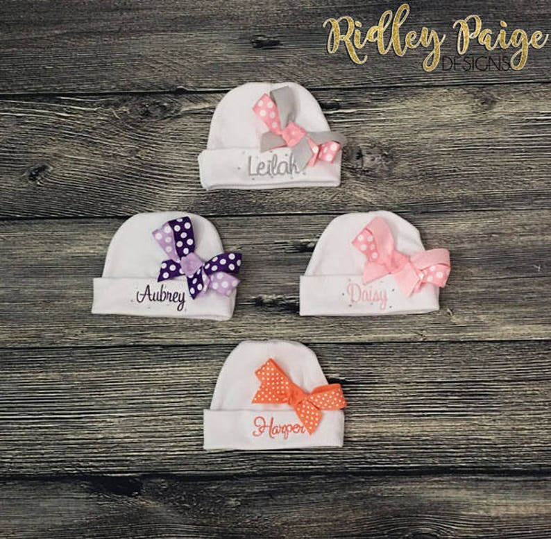 1bf6524d404 Monogrammed Newborn Girl Hat Personalize Infant Girl Beanie