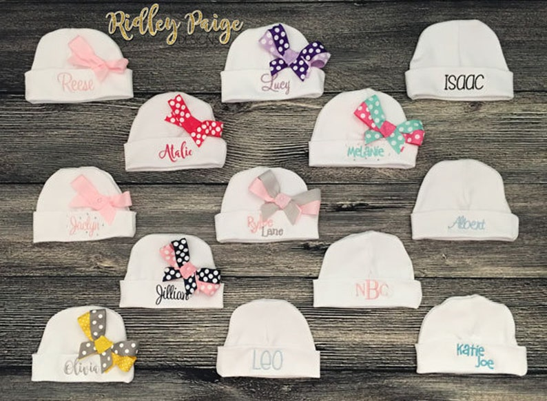 Name Hat with Bow Monogram Baby Hat Infant Layette Personalize Hospital Hat Baby Shower Gift Take Home Hat Newborn Baby Girl Beanie