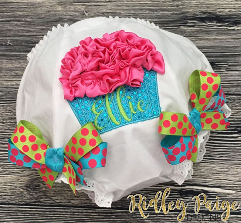 Girls First Birthday Diaper Cover Custom Cake Smash Outfit Personalize Cupcake Diaper Cover Toddler Bloomers Monogram Birthday Bloomers