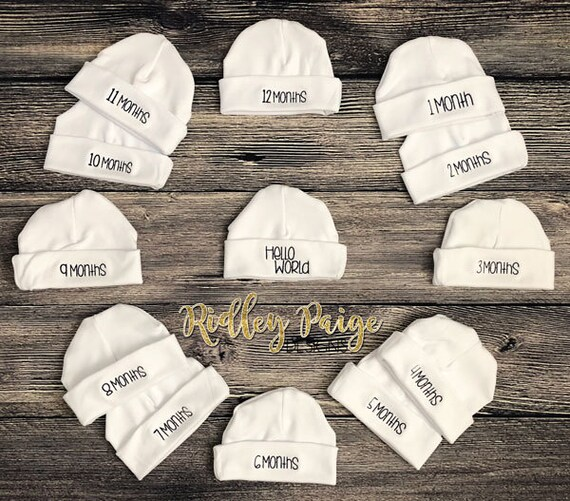 b74977d21f1 Monthly Milestone Hats Month to Month Newborn Baby Hat Set