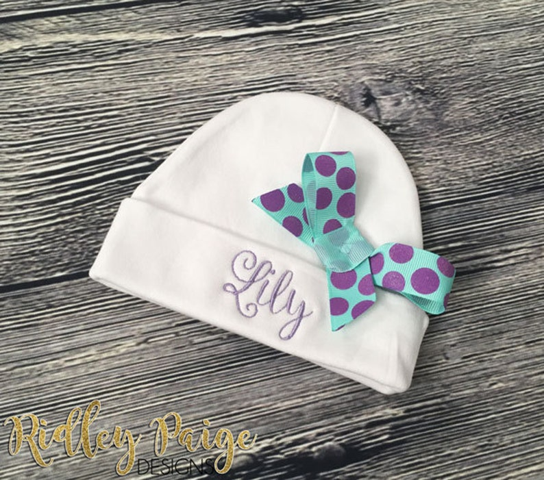 24bf0f7d3bb Monogram GIRLS Hospital Beanie Personalize Baby Layette Hat