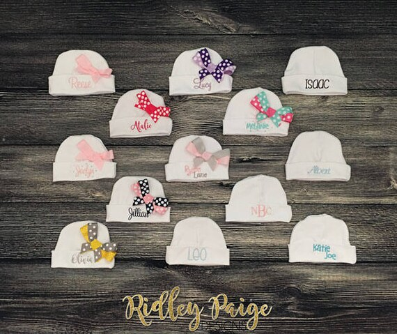 5b917a590a2 Personalized Hospital Beanie Monogram Infant Hat Newborn