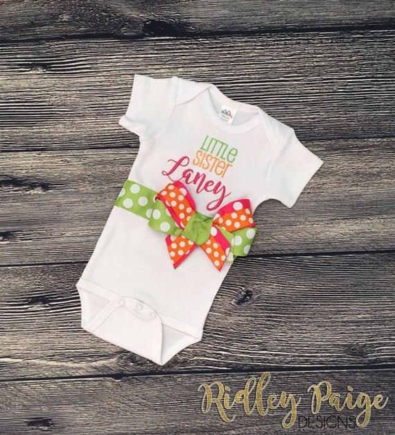 Baby Sister Outfit Personalize Little Sister Bodysuit Monogram Newborn Sister Custom Infant Hospital Girl Little Sister Newborn Layette