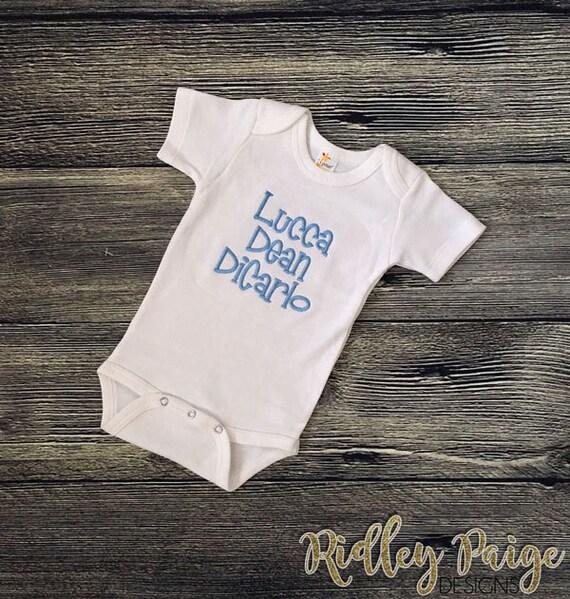 afc9b314b Personalize Boys Bodysuit Monogram Baby Boy CUSTOM Full Name