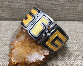 Vintage Margot de Taxco Sterling Silver Black & Yellow Enamel Link Bracelet, Greek Key, Mexico