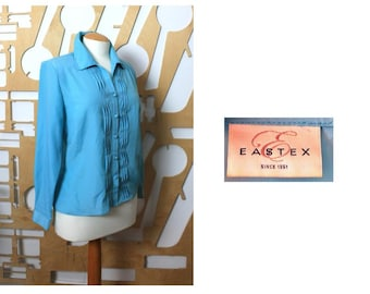 Ladies short sleeve Eastex blouse Size 12-14 Cream with teal leaves decoration