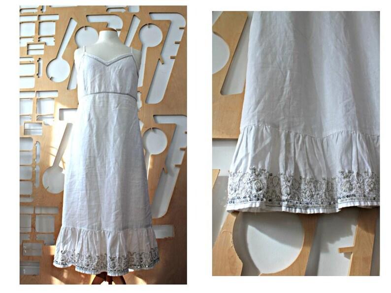White linen dress Wedding dress Slip dress Linen cami dress image 1