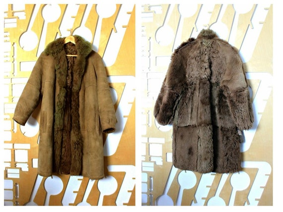 Vintage 70s Sheepskin coat Long coat 70s vintage S