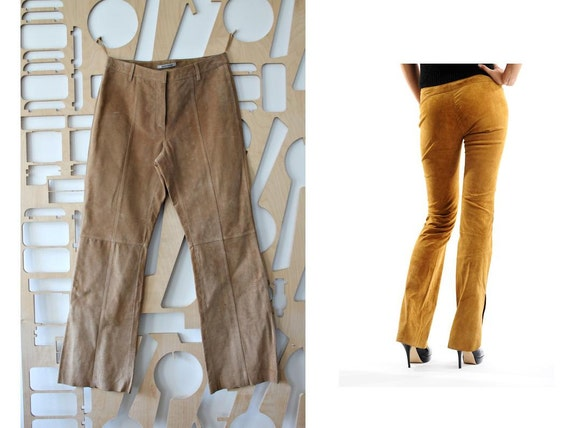 Vintage Suede Pants Leather Trousers High Rise Bel