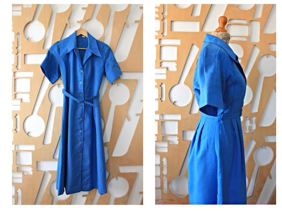 60s Linen dress Shirt dress Vintage dress 60s dres