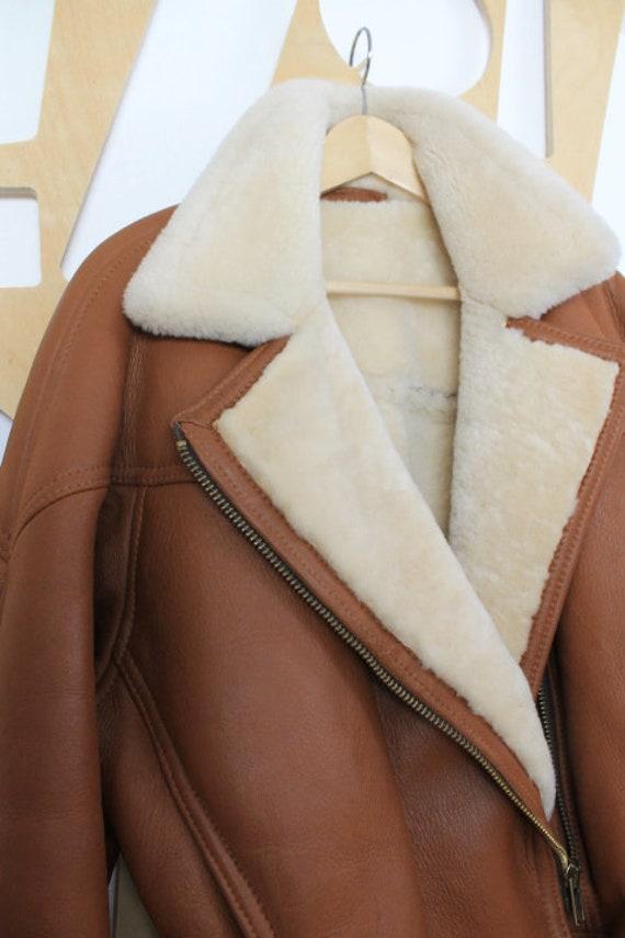 90s Vintage sheepskin jacket Sheepskin coat Shearl