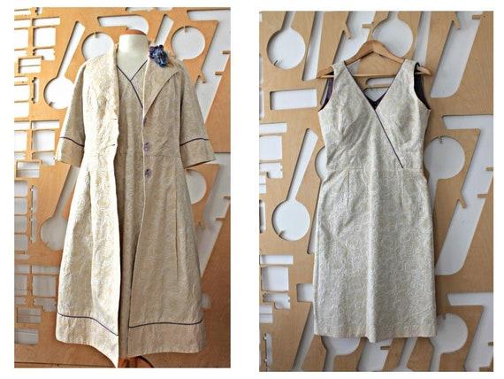 Long coat Dress suit Vintage coat Silk suit Silk d