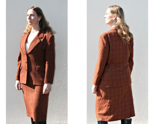 Wool suit Tweed jacket Fitted suit Brown suit Edwa