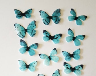30 Edible Butterflies, Ombre 3D Double-Sided Wafer Paper Toppers for Cakes, Cupcakes, Cookies or Drinks