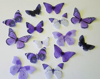 Edible Single-Color Butterfly Variety Collection, 3D Double-Sided Wafer Paper Toppers for Cakes, Cupcakes or Drinks