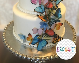 30 Edible Butterflies, 3D Wafer Paper Double-Sided Toppers for Cakes, Cupcakes, Cookies or Drinks