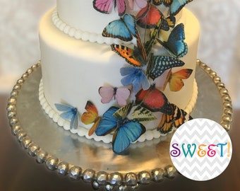 Edible Cake Decorations - Butterflies, 3D Wafer Paper Double-Sided Toppers for Cakes, Cupcakes or Cookies