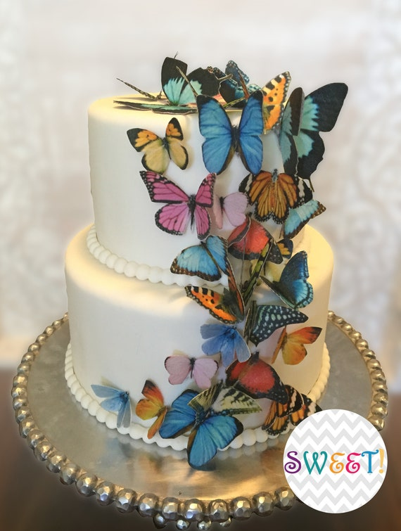 16 cake butterflies 2 wide wafer paper rainbow color butterflies set for wedding or birthday cakes edible butterfly cupcake toppers