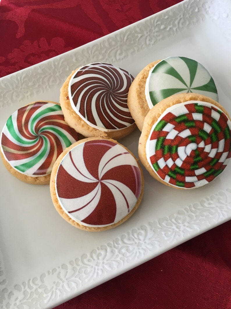 Edible Christmas Candy Cupcake Cookie Or Oreo Toppers Wafer Paper Or Frosting Sheet