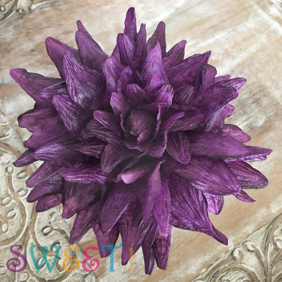 Edible giant dahlia wafer paper flower for cakes etsy image 0 mightylinksfo